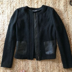 Wool Vince. Jacket with leather accents. Size 4